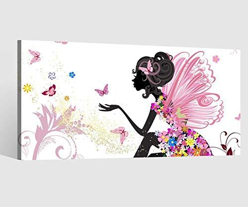 Leinwandbild Kinderzimmer Fee Prinzessin Kat2 Leinwand Bild Wandbild Leinwandbilder Kunstdruck vom Hersteller 9AB2141, Leinwand Größe 1:80x40cm
