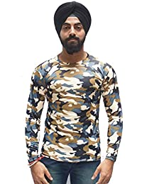 SCALLYWAG Men's Poly Cotton Camouflage Print Full Sleeves T-Shirt (Multicolour, Free Size)