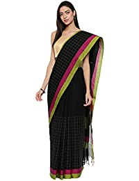 CLASSICATE From the house of Classicate From The House Of The Chennai Silks - Chettinad Cotton Saree - Jet Black - (CCMYSC9331)