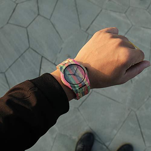 BEWELL Herren Uhr Holz Analog Japanisches Quarzwerk mit Bambus Armband Rund Holzuhr Männer (Mehrfarbig 1) - 5