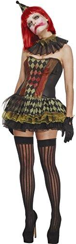 Fever, Damen Zombie Clown Kostüm, Tutukleid, Hut und Halskragen, Größe: L, 43987