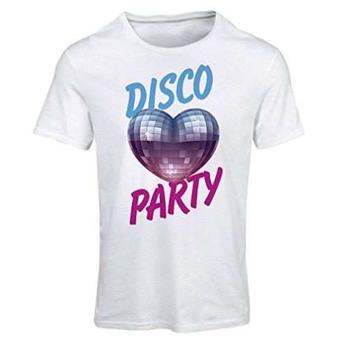 Frauen T-Shirt Disco-Party, für Musikliebhaber (Medium Weiß Mehrfarben)