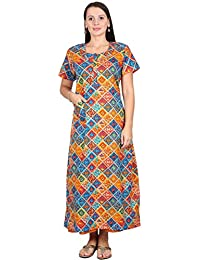 b2386ce125 Nighty House Womens Full Length Slim Fit Kalamkari 100% Cotton Nightgown