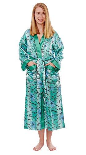 Fashion Up2date Damen Bademantel aus Satin, lang - Mehrfarbig - Small