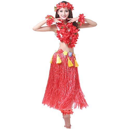 Kostüm Männer Hula Girl - Haobing Strand Party Erwachsene Fancy Dress Kostüm Set Luau Hula Röcke Floral Armbänder, Stirnband, Blumenkette (Rot, 8pcs/Set)
