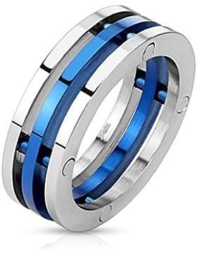 Paula & Fritz® Ring aus Edelstahl Chirurgenstahl 316L Bandring aus 3 Teilen mittig blau verfügbare Ringgrößen...