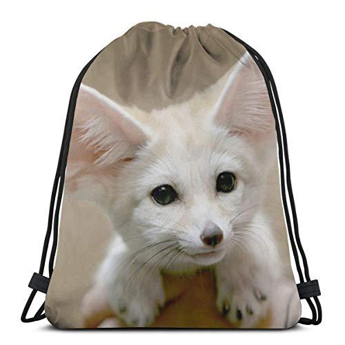 ghfghgfghnf Drawstring Backpack Bag,Cinch Sack,Gym Sack,for Girls Or Men Shopping,Sport,Gym,Yoga,School,Big Ear Fox -