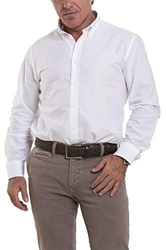 Atelier Boldetti - Camicia Uomo in Tessuto Oxford, Slim Fit Oxford Bianco/Contrasti Oxford Azzurro