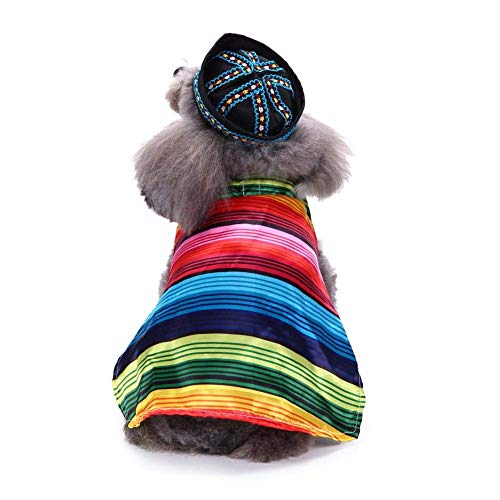 H-ONG Pet Dog Costume Pet Mexican Cape with Hat Dog Cat Fancy Dress Puppy Pet Cloak Costumes Cute Cosplay Clothes Coat for Halloween Festivals Party
