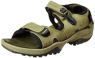 f84b8491c5c1 Woodland Men s Khaki Leather Sandals and Floaters - 10 UK India (44 ...