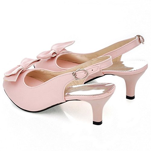 COOLCEPT Damen Mode-Event Slip On Schuhe mit Absatz Slingback Pumps Peep Toe Schuhe mit Bogen Pink
