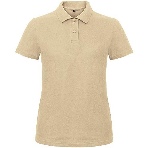 B&C Collection Ladies Id.001 Short Sleeve Polo Shirt Wine Sand