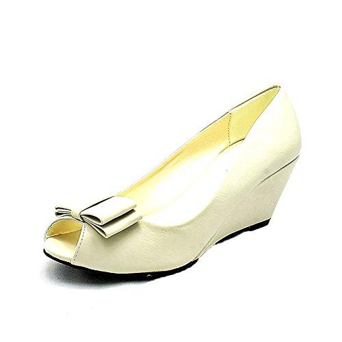 Patent Bow Toe bas coin court de talon Chaussures femme Nude Matt