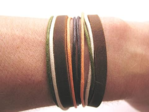 Mens or Womens hemp unisex urban surfer Black Brown leather coloured cord friendship bracelet