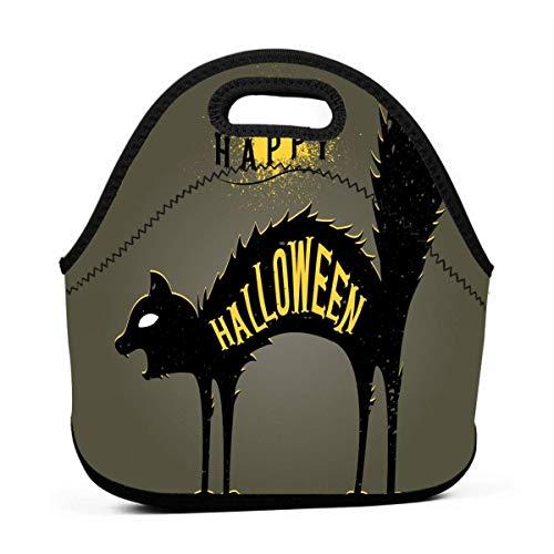 Lunch-Taschen für Damen, Halloween, Katze im Dunkeln, wiederverwendbar, Snack-Taschen, süßes Kleinkind-Lunchtasche, Taschen, 3D-Druck, kleine Handtaschen
