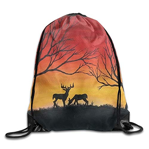 uykjuykj Tunnelzug Rucksäcke, Gym Drawstring Bags Deer Tree Sunset Draw Rope Shopping Travel Backpack Tote Student Camping Lightweight Unique 17x14 IN