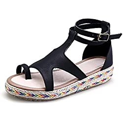 Zapatillas de Moda Sandalias Alpargatas Abierto de Plataforma Tobillo Mujer Negro 38