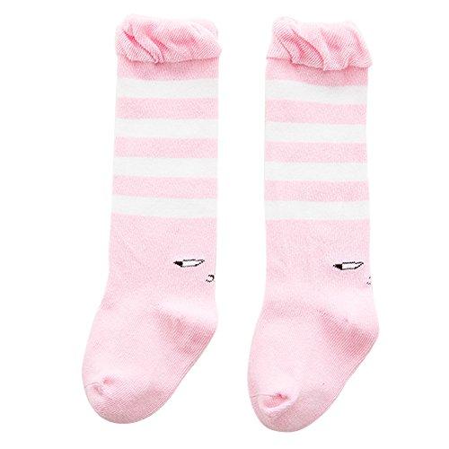 TININNA Lot de 3 Paires Rayure Chaussettes Hautes Genou Enfant en Coton Collants Longue Leg Warmer Sock Leggings Socquette Semelle pour Enfants Filles Garçons Rose M 1-3ans