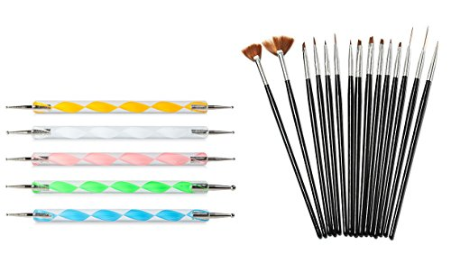 Looks United 15 Nail Art Brushes And 5 Two Way Dotting Tool ( Pack of 20 )