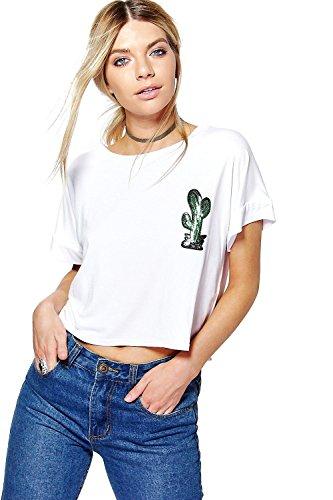 Blanc Femmes Phoebe Sequin Cactus Boxy Tee Blanc