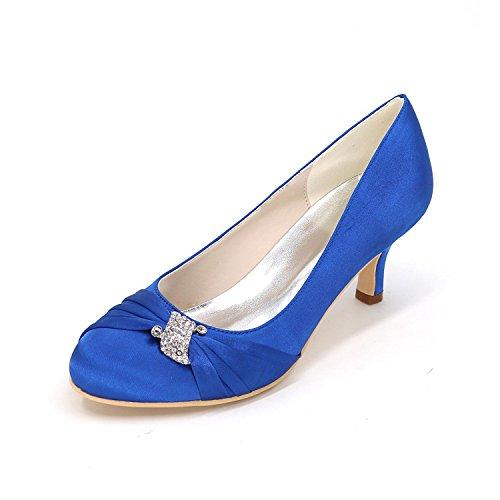 L@YC Tacchi delle donne primavera / festa nuziale / cunei di caduta / tacchi / cerniera / seta e sera di seta rotonda Blue