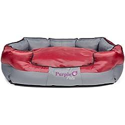 Cama para perro, Cama para Gato, Cama de Mascota, Fácil limpieza, Perro Cojines, Purple-Pets Tradicional (Grande, Rojo)