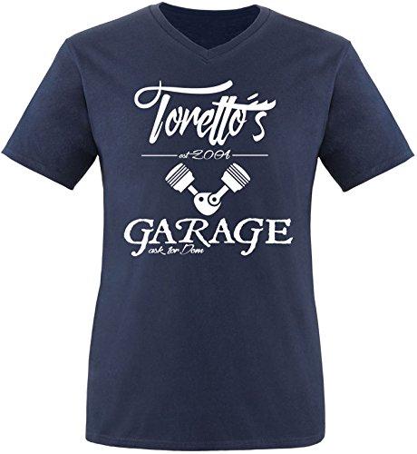 EZYshirt® Toretto´s Garage Herren V-Neck T-Shirt Navy/Weiss