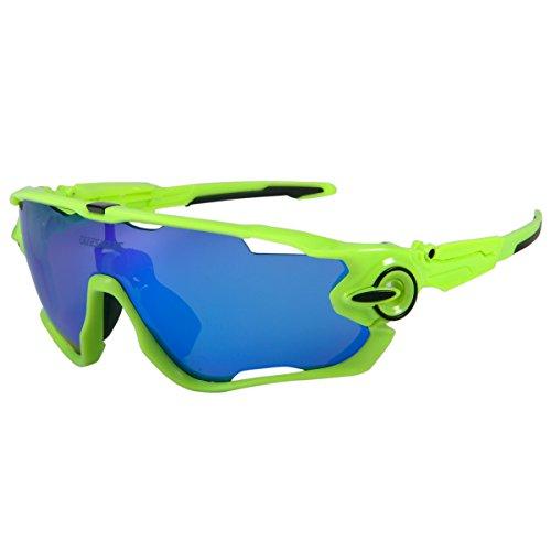 Queshark polarizzati sport gli occhiali da sole per uomini donne con 3 lenti intercambiabili per guidare il baseball in bicicletta a sciare a pescare gli ciclismo occhiali (color 17 blu lente)