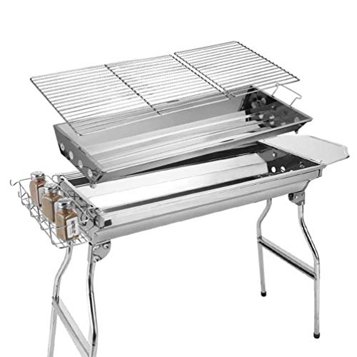 LLYY® BBQ Smoker Charcoal Barbecue Grill, Outdoor Portable Garden Hiking Picnics Stainless Steel Charcoal Oven Foldable/Garden Terrace Barbecue Frame