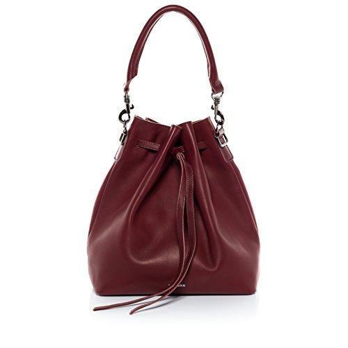 FEYNSINN® Beuteltasche NIK - Damen Schultertasche groß Ledertasche - Hobo Bag Zugbeutel Damentasche echt Leder marsala (Rote Leder-hobo)