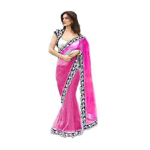 Fashion And Hub Net Saree With Blouse Piece (Fah_Jalparipink01_Pink_Free Size)