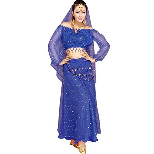 TianBin Mujer Danza del Vientre Indian Dance Conjunto de Traje de Decoración de Lentejuelas Varios Accesorios (Zafiro#4, Talla única)
