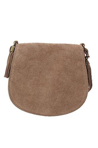 ImiLoa Ledertasche klein braun Lederhandtasche kleine Umhängetasche Fransen Leder Tasche Wildleder Handtasche 36-tau (Damen Fransen Leder)