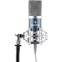 auna MIC-900BL micrófono de condensador USB (cardioide, conexión Plug & Play compatible PC y Mac, cable USB, soporte de araña) - azul
