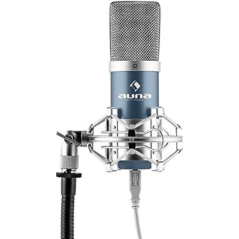 auna MIC-900BL micrófono de condensador USB (cardioide, conexión Plug & Play compatible PC y Mac, cable USB, soporte de araña) -