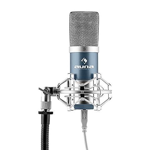 auna MIC-900BL (USB Cardioid Studio Condenser Microphone Plug & Play, USB Connector, 30 Hz - 18 kHz & Shockmount) -