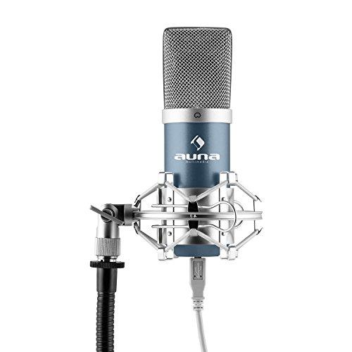 "auna MIC-900BL - USB Kondensator-Mikrofon, Nierencharakteristik, Metallgehäuse, Plug & Play, inklusive Mikrofonspinne mit 3/8"" zu 5/8"" Gewinde-Adapter, USB-Kabel, Schutztasche, blau"