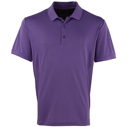 Premier Herren Coolchecker Pique Kurzarm Polo T-Shirt Violett