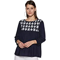 Styleville.in Women's Plain Regular Fit Top (STSF401629-Navy-M)