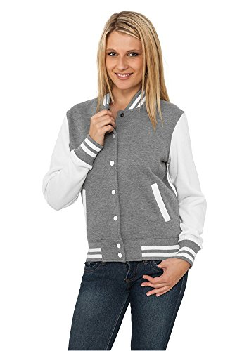 Urban Classics TB218 Damen Jacke Ladies 2-tone College Sweatjacket, Mehrfarbig(gry/wht), Large