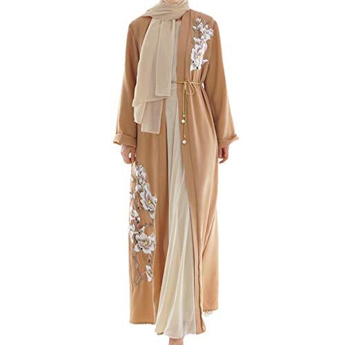 JUTOO Abaya Femme Musulmane Dubai Pas Cher,Muslim Arab Middle Eastern Women's Necklace Long Sleeve Robe Dress Islamique Muslim Kaftan VêTements Islam SoiréE Caftan Jalabiya Partie