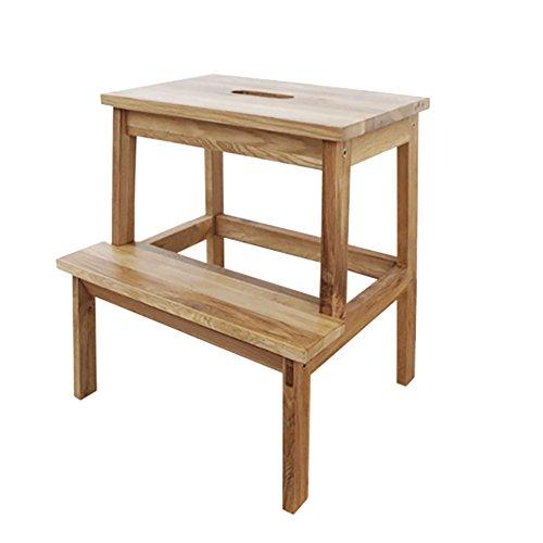 YI Taburete Wooden 2 Tread Step Stool para Adultos y niños Homewares Wood Ladders Small Foot Stools Indoor Portable Shoe Banco/Flower Rack