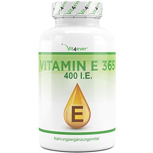 Vit4ever® Vitamin E 400 I.E. IU - 365 Softgel Kapseln - 12 Monatsvorrat - Natürliches Vitamin E aus Sonneblumen - Antioxidant - Hochdosiert - 400 Iu Öl