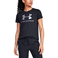 Under Armour Women's Graphic Sportstyle Clashort Sleeveic Crew Top, Black (Black/Iridescent), Large