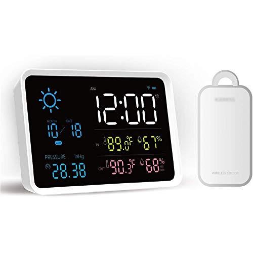 FIREUO Estación Meteorológica Inalámbrica Digital con Sensor Exterior, Monitor de Barómetro de Temperatura...