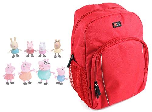 Duragadget Sac à Dos Enfant Rouge pour Figurines Peppa Pig - idéal pour Les Ranger et Les Transporter