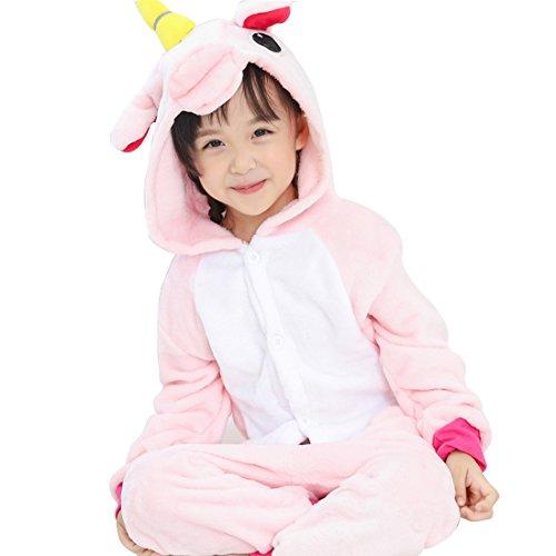 GWELL Kinder Einhorn Kostüme Tier Tieroutfit Cosplay Jumpsuit Schlafanzug Mädchen Jungen Winter Nachtwäsche rosa Körpergröße (Kostüm Men's Halloween Tier)