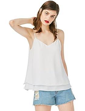 ZAN.STYLE Blusa Mujer sin Mangas Verano de Gasa Camiseta Mujer Tangque Tops Blanco