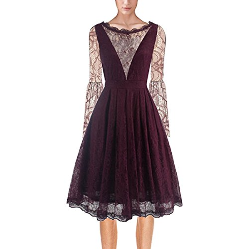 VENFLON®Lace Moda Donne Europa Speaker maniche un abito da linea swing Wedding Party Dress (0014) (XXL)