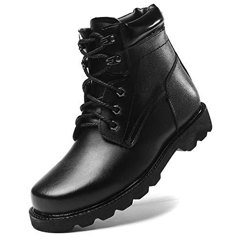 XI-GUA Stiefel Martin Stiefel aus weichem Leder Wasserdichte militärische ältere warme Herren Schuhe mit lässigen rutschfesten Schuhen